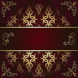 Luxury background card with maroon and gold pattern Royalty Free Stock Images