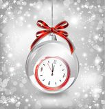 Luxury background with New year clock in Christmas Stock Photos