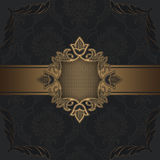 Vintage background with decorative border. Luxury background with vintage patterns and golden border Stock Images