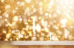 Luxury background, Wooden desk with Luxury gold Bokeh light with fireworks background. S Stock Photography