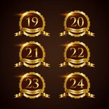 Luxury Badge Anniversary 19-24 Vector Illustrator Eps.10. Luxury Badge Anniversary 19-24 Logo Vector Royalty Free Stock Image