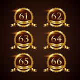 Luxury Badge Anniversary 61-66 Vector Illustrator Eps.10 Stock Photos