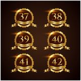 Luxury Badge Anniversary 37-42 Vector Illustrator Eps.10 Royalty Free Stock Photos