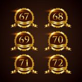 Luxury Badge Anniversary 67-72 Vector Illustrator Eps.10 Royalty Free Stock Photo
