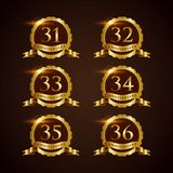 Luxury Badge Anniversary 31-32 Vector Illustrator Eps.10 Stock Images