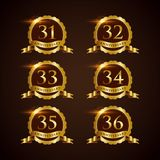 Luxury Badge Anniversary 31-36 Vector Illustrator Eps.10. Luxury Badge Anniversary 31-36 logo design royalty free illustration