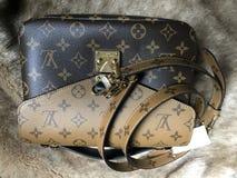 Luxury shopping bag Louis Vuitton model metis reverse bag. Luxury bag Louis Vuitton model metis reverse Royalty Free Stock Photography