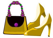 Luxury bag and shoes Royalty Free Stock Photography