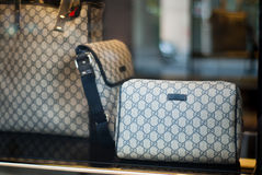 Luxury bags. Gucci bags exposed in the new shop opened in Bucharest Royalty Free Stock Images