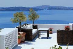 Luxury balcony at Oia, Santorini, Greece Royalty Free Stock Photos