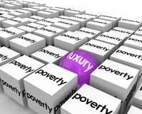 Luxury Ball Among Poverty Poor Living Conditions One Lucky Rich. Luxury word on one ball or sphere among many cubes marked Poverty to illustrate one rich person Royalty Free Stock Photos