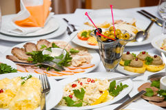 Luxury banquet table Stock Photos