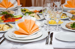 Luxury banquet table stock images