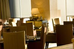 Luxury bar restaurant interiors. A luxury bar restaurant with modern interiors in downtown Seattle Royalty Free Stock Photos
