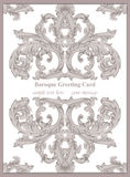 Luxury Baroque card ornament background Vector. Rich imperial intricate elements. Victorian Royal style pattern Royalty Free Stock Photos