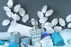 Luxury bath items. Luxury winter beautiful bath items stock photo