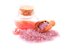 Luxury bath salt. In pink with pearl isolated over white royalty free stock photos