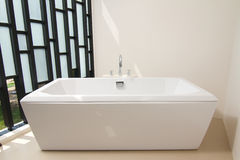Luxury bath tub with faucet Stock Photo
