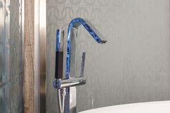 Luxury bath tub and faucet. With shower royalty free stock photography