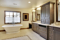 Luxury Bathroom. Angled view of bathroom with tub and cabinetry Stock Photography