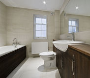 Luxury bathroom. Modern luxury bathroom with hard wood elements Royalty Free Stock Image