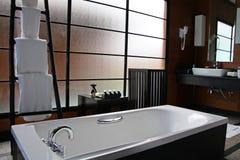 Luxury bathroom. In the maldivian ocean villa Stock Photo