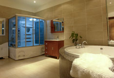 Luxury bathroom. A large and nice bath space Royalty Free Stock Image