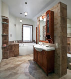 Luxury bathroom. Interior of the luxury bathroom with red wood furniture and window stock image