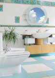 Luxury bathroom. White and blue royalty free stock image