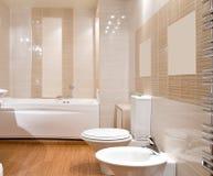 Luxury bathroom. Wood textured floor stock image