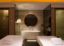 Luxury Bathroom. With two spa bed royalty free stock image