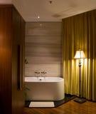 Luxury Bathroom. With lamp on wood floor stock photos