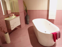 Luxury bathroom. Modern pink bathroom design with bath stock photo