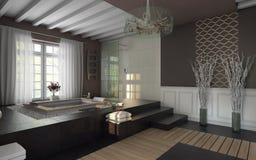 Luxury bathroom. In brown colors Stock Photos
