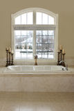 Luxury Bathroom. Luxurious master bath with a winter snow scene in the back Stock Photos