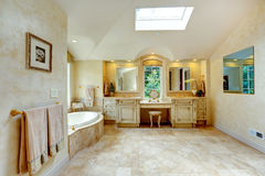 Luxury bathroom with antique vanity and cabinets Stock Photography