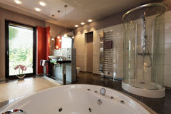Luxury bathroom with bath and shower. Luxury bathroom with bath and glass shower royalty free stock images