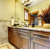 Luxury bathroom cabinets in mountain home. Luxury bathroom cabinets in mountain home with stone tile Stock Photography