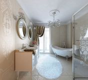 Luxury bathroom. Classic style Royalty Free Stock Photo
