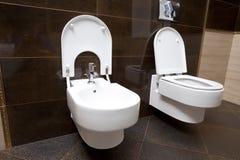 Luxury bathroom. Closeup - the water-closet and bidet royalty free stock image