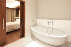 Luxury Bathroom. Contemporary luxury bathroom with oval bathtub stock images