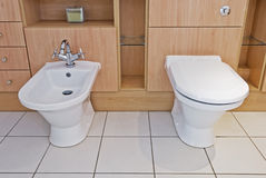 Luxury bathroom detail. Detail of a bathroom with toilet and bidet Royalty Free Stock Images