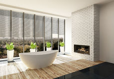 Luxury bathroom with fire insert and sunshine. Luxury bathroom with fire insert in a feature white brick wall and sunshine pouring in through large view windows Royalty Free Stock Photos