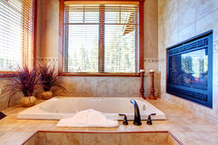 Luxury bathroom with fireplace. Tropical theme interior Stock Photos