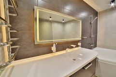 Luxury bathroom in the french style in the house. bathroom interior. royalty free stock image