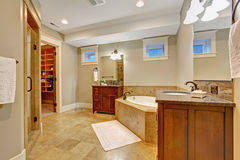 Luxury bathroom with granite tile trim Stock Image