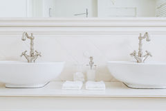 Luxury bathroom in the house stock photography