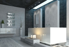 Luxury bathroom interior with burning candles Royalty Free Stock Photography
