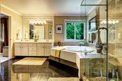 Luxury bathroom interior. With corner bath tub and glass transparent shower Stock Photography