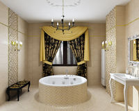 Luxury bathroom interior in daylight stock photography